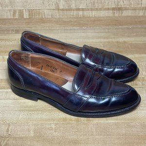 Alden Mens John Mazzo Maroon Leather Shell Cordovan Penny Loafer Dress Shoes 10